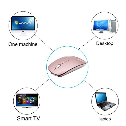Rechargeable 2.4G Slim Wireless Mouse - Tsmine Optical Mice with USB Nano Receiver(Stored Within the Back of the Mouse) for Notebook, PC, Laptop, Computer, Windows / Android Tablet - Rose Gold