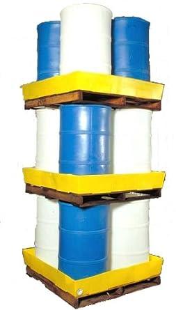 "Dixie Poly BM-ES Polyethylene 4 Drum Econo-Stacker, 70 gallon Sump Capacity, 50"" Length x 50"" Width x 7"" Height"