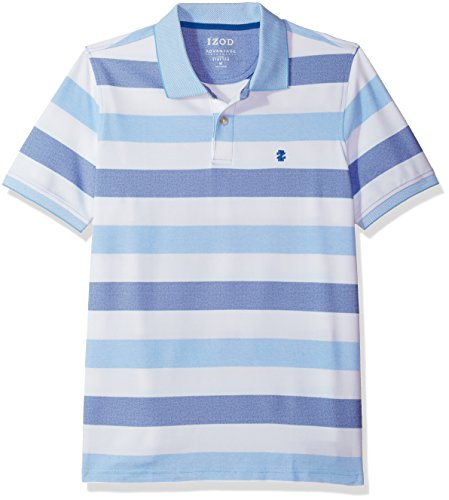 IZOD Men's Advantage Performance Short Sleeve Stripe Polo, True Blue/426, Large