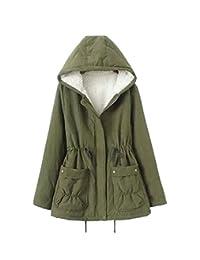 Vedem Women's Winter Drawstring Military Hooded Fleece Lining Parka Coat
