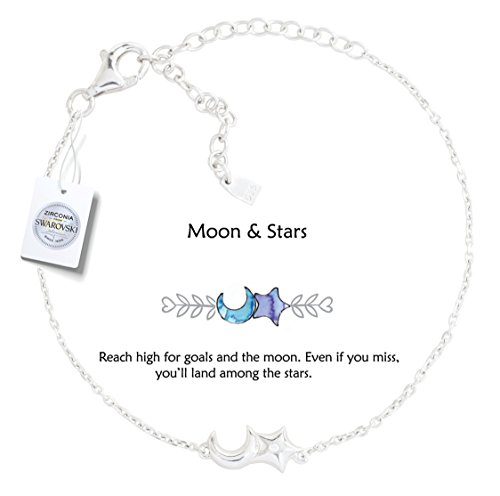 Vivid&Keith Womens Girls 925 Real Sterling Silver 18K Plated Swarovski Zirconia Cute Adjustable Gift Fashion Jewelry Link Chain Charm Pendant Bangle Bracelet, Moon & Star, White Gold Plated