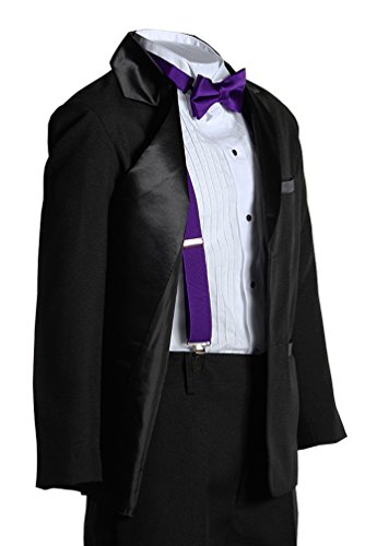 Boys Two Button Notch Tuxedo with Plum Suspender Bow Tie Set from Tuxgear