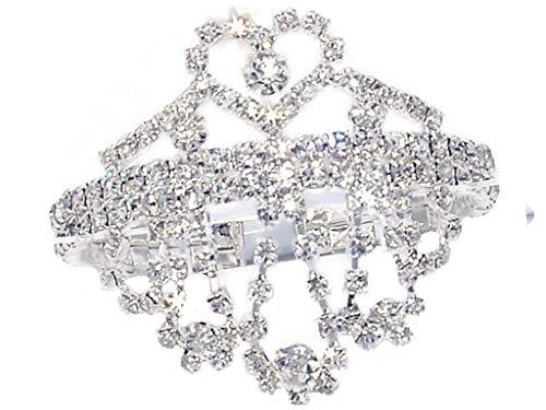 Rhinestone Bracelet or Ankle Bracelet - Bridal, Wedding, Prom, Party, Pageant, Evening Wear, Party Wear (Heart Fringe) by DesignedDazzle