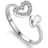 Miki&Co Plata Diamante corazón Anillo, I Love You, Apertura, tamaño Ajustable, B136