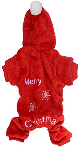Lanyar Red Christmas Santa Holiday Festive Dog Cat Pajamas Puppies Hoodie Fleece, XSmall Size