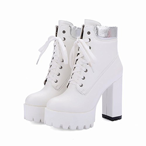 Charm Foot Womens Lace Up Platform Chunky Multicolor Short Boots Bianco