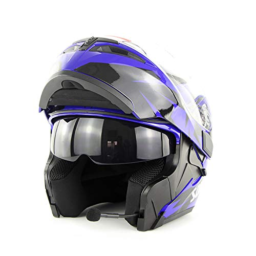 - FlyingBoy Bluetooth Helmet Communication System, Flip Double-Sided Awning Motorcycle Full Face Helmet DOT Certified Bluetooth Modular Helmet Motorcycle/Cross Country/Snowmobile/ATV, Blue,S