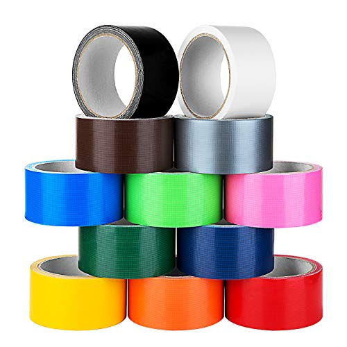 Multi Colored Duct Tape -12 Pack Variety Set - 10 Yards x 2 inch Rolls-Fun DIY Art Kit for Girls & Boys Kids Craft Duck Set - Rainbow Assorted -