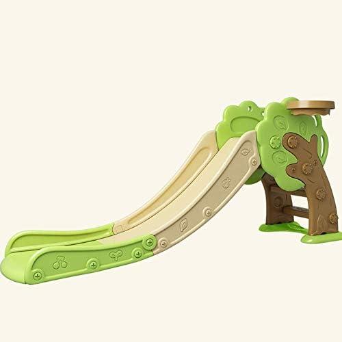 子供の小さなスライド世帯の組み合わせセット遊び場プラスチックのおもちゃクリームグリーン小さな木の形(屋外)