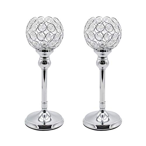 (Joynest Crystal Candle Holders Coffee Table Decorative Centerpiece Candlesticks Set Dining Table Decorations, Gifts Thanksgiving/Birthday/Valentines Day/Housewarming (Silver, 2 pcs 11.8''))