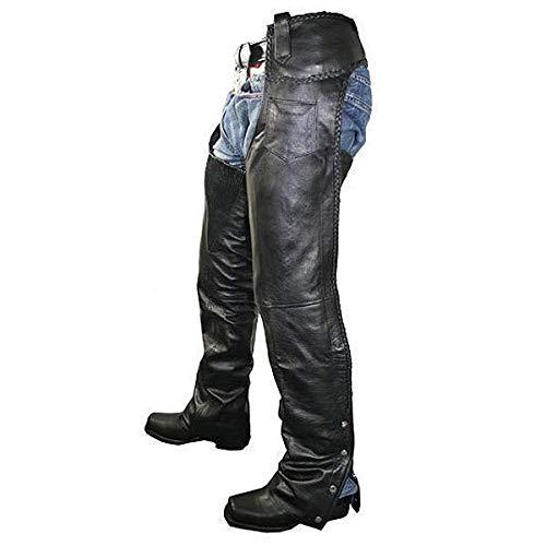 Xelement B7555 Classic Mens Black Braided Elastic Fit Leather Chaps 36