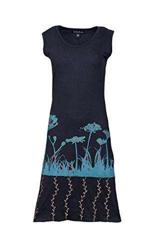 Ärmelloses Blumen-stickerei Schwarz Damen Bunten Mit Kleid