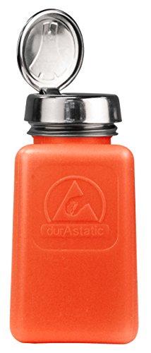 MENDA 35270 One Touch Stainless Steel Liquid Dispenser Pump, ESD Safe durAstatic Square Bottle, 6 oz, High Density Polyethylene/Stainless Steel, Orange (Menda Pump)