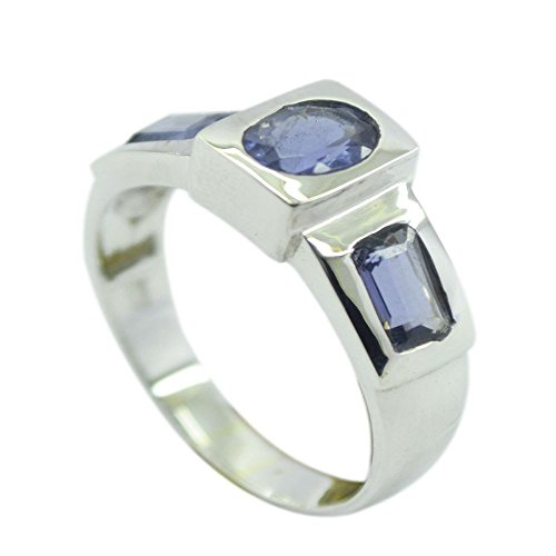 Gemsonclick Real 3-Stone Style Iolite Rings In Silver Oval Emerald-Cut Latest Fashion Finger Size 5 To 12 (3 Stone Iolite Ring)