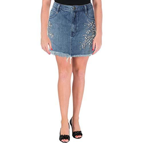 Free People Womens Embellished Mini Denim Skirt Blue 4
