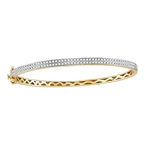 - Two Row Diamond Bangle Bracelet Fashion Round Pave Set Womens Fancy 1.00ct 14k Yellow Gold
