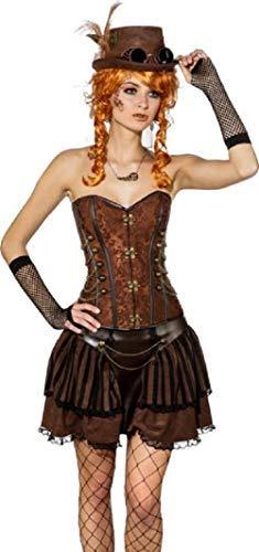 Fancy Me da Donna Deluxe Pizzo Similpelle Nero Marronee oro argentoo Steampunk Vittoriano Wild West Inventore Cosplay qualità Costume Vestito Corsetto - Marronee Bronzo, UK 16 (EU 44)