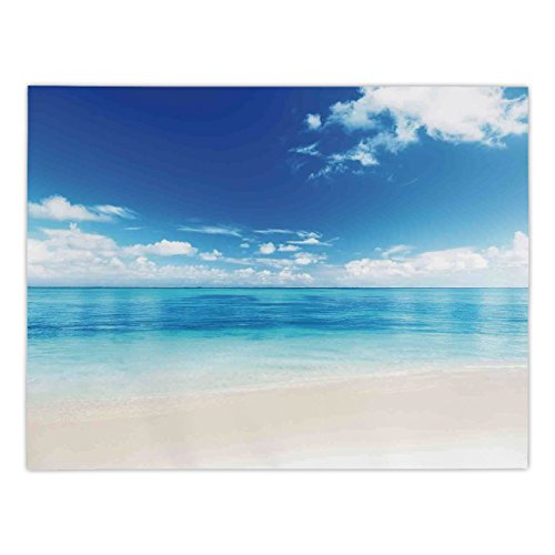 Maple Desk Atlantic (iPrint Rectangular Satin Tablecloth,Ocean Decor,Atlantic Dominican Carribean Island Beach View in Summer With Blue Sea and Sky Decorative,Dining Room Kitchen Table Cloth Cover)