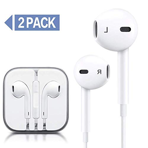 Generic Earphones Earbuds Wired Headphones Microphone Made Compatible Apple iPhone 6s 6 5s 5 4s 4 iPad 7 8 X All 3.5mm Jack Smartphones 2 Pack (White)
