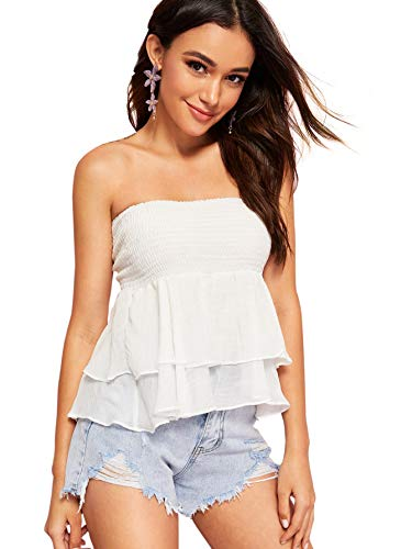 DIDK Women's Stretchy Strapless Wrap Front Bandeau Peplum Top Blouse (X-Large, White_1)