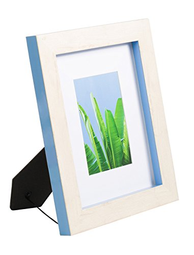 (5x7 Picture Frame with Mat & Glass Wood Finish for Wall Tablet, Monteverde Collection, Display Photo 2.5x4 Opening, Blue)