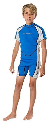 NeoSport Wetsuits Children's Premium Neoprene 2mm Shorty Wetsuit, Blue/Platinum, Size Two by Neo-Sport