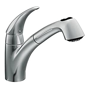 Extensa Chrome One Handle Low Arc Pullout Kitchen Faucet