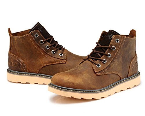 Insun Mens Crazy Horse Leather Work Enkellaarzen Crazy Horse Brown