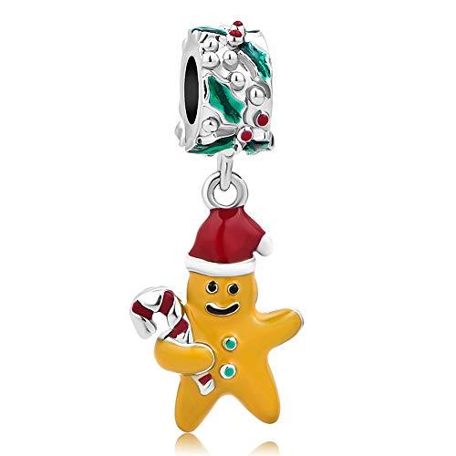SexyMandala Christmas Sweet Gingerbread Man with Candy Cane Charms Bead Dangle fit Pandora Bracelets
