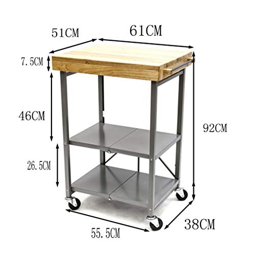 Diner Scroll (PANGU-ZC Trolley Rack Shelf Trolley Storage Scroll Cart - Diner Mobile Three-Layer Home Kitchen Hotel Solid Wood (Color : Gray))