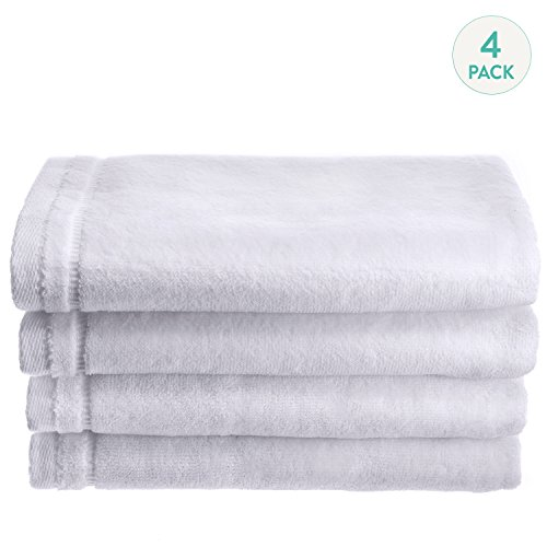 Creative Scents Cotton Velour Fingertip Towel, 4 Piece Set, 11 by 18-Inch, White