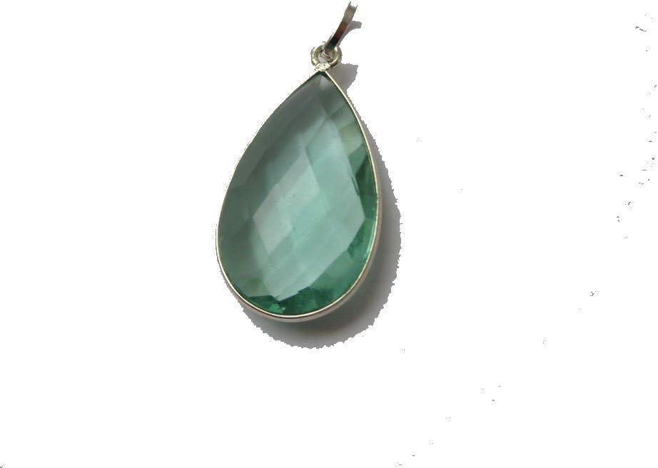 Aguamarina cuarzo colgante en forma de lágrima, colgante de plata con relleno, valor y protección piedra colgante, regalo para ella
