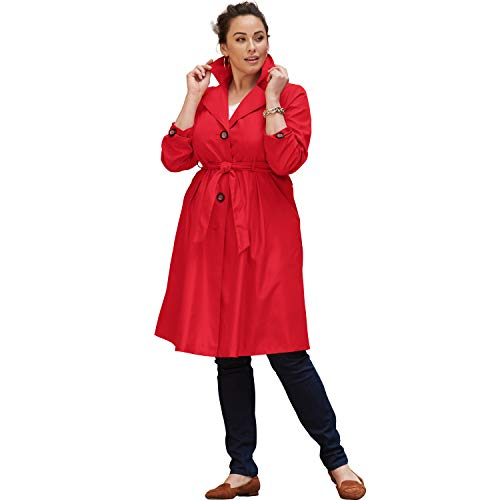 Jessica London Women's Plus Size Pleated Trench Coat - Hot Red, 18 W ()