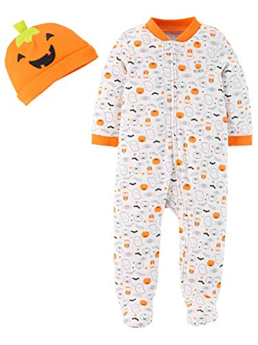(Carter's Just One You Neutral Baby Halloween Pumpkin Ghost Print Sleep N' Play- Orange/White (9)