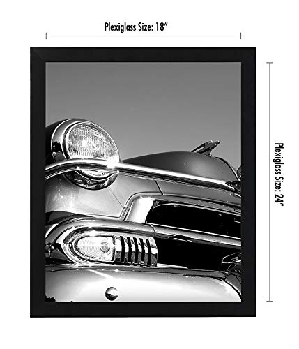 Americanflat 18×24 Poster Frame in Black with Polished Plexiglass-Horizontal and Vertical Formats with Included Hanging…