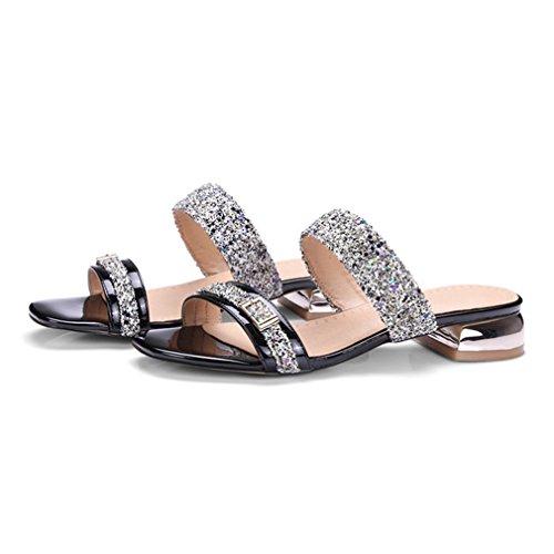 Bas Pantoufles Lumino Dames Chaussures Sandales Femmes Diapositives Glitter Talon Sandales Femmes Plage D'été Black Causal a0pF8a