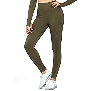 Aoxjox Women's High Waist Workout Sport Gym Arise Prime Seamless Leggings Yoga Leggings (Khaki, Small)