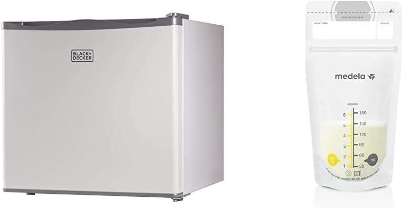 BLACK+DECKER BUFK12W Compact Upright Freezer Single Door, 1.2 Cubic Feet, White & Medela Breast Milk Storage Bags, 100 Count, 6 Ounce