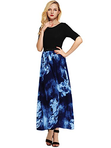 Clearance Summer Dress Floral V Amoretu Maxi A10 Neck Womens Sleeveless Casual Printed Loose OUSEEPqwd