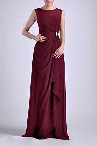 Long Natrual Chiffon Adorona Women's Bateau Wine Straps Sheath Dress Sleeveless xqFxvn0p5w