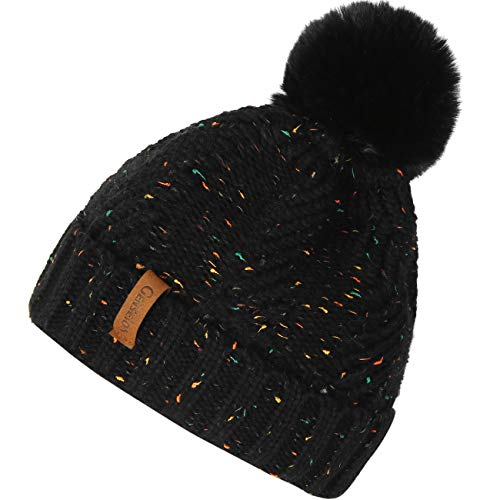 Womens Beanie Hats Knit Thick Fleece Lined Chunky Chenille Snow Hats Girls Winter Soft Warm Ski Baggy Cap