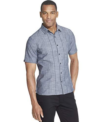 Van Heusen Men's Slim Fit Never Tuck Short Sleeve Button Down Shirt, Legacy Sea Navy, ()