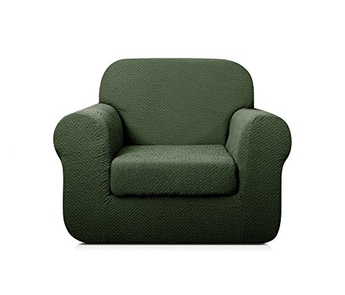 TOYABR 2-PieceSeersucker JacquardStretchyFabricDinning Room SofaSlipcoversFittedSofaProtector (Chair, Army - Separate T-cushion Chair Seat