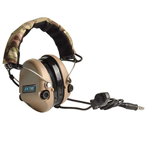 ATAIRSOFT Z-Tactical Z111 Sordin Style Noise Cancellation Ptt Wargame Hunting Headset Headphone for Military Radio (DE)
