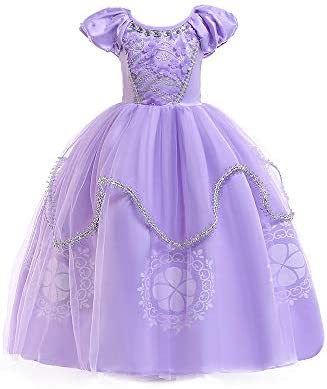 QZ Niñas Princesa Sofía Vestirse Vestidos de Fiesta de Disfraces para niños Vestir Fiesta de cumpleaños de Halloween Cumpleaños de Halloween Vestir ...