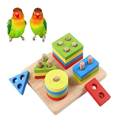 Bird Training Toys, Parrot Educational Toys, Bird Foraging Toys, Parrot Puzzle Toy Wooden Block Toy for Bird Rabbits Hamster Gerbil Budgies Parakeet Cockatiel Lovebirds