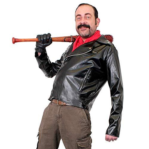 Mens Negan COSTME Fancy Dress Leather Look Biker Jacket and Bandana -