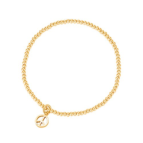 MetJakt Sleek Elastic Beads 18K Gold Plated Classic Stretch Bracelet with Various Pendants (Peace, Yellow-Gold-Plated-Base)