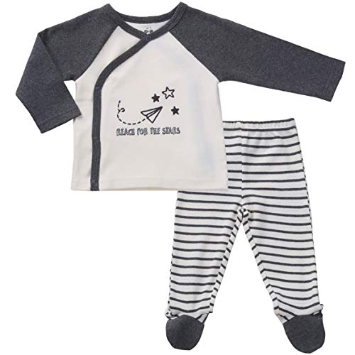 Asher and Olivia Infant Clothes Footed Pants Long Sleeve Kimono Shirt Gender Neutral 0-3 Months ()