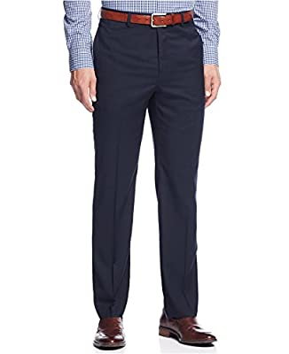 Calvin Klein Slim Fit Navy Neat Flat Front New Men's Finished Dress Pants
